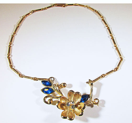 Vintage 1950s Beautiful Sapphire Blue Rhinestone Floral Necklace