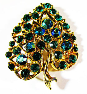 Vintage 1950s Mid-Century Dazzling Emerald and Teal Leaf Pin