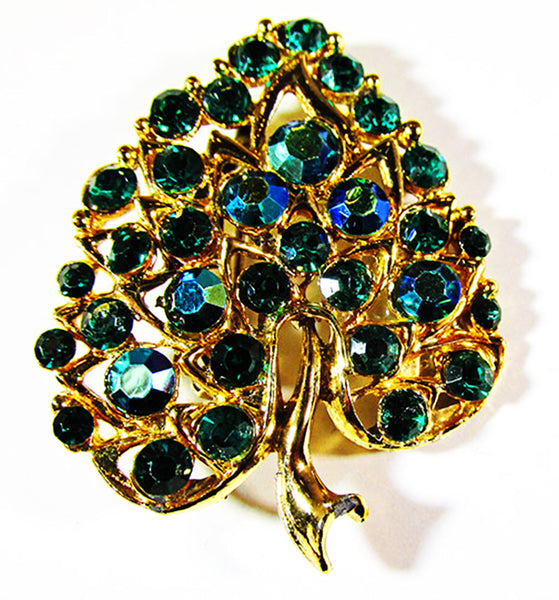 Vintage 1950s Jewelry Dazzling Diamante Emerald and Teal Leaf Pin - Front
