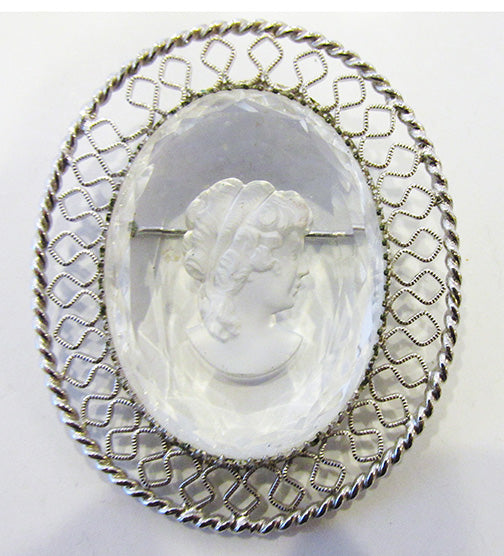 Whiting and Davis Vintage 1950s Mid Century Glass Cameo Pin