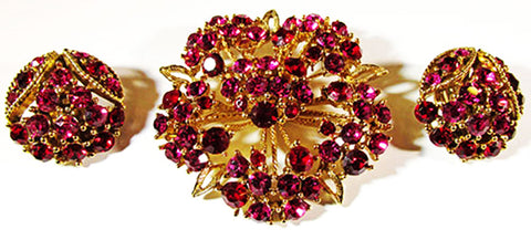 Vintage 1950s Stunning Mid-Century Fuchsia Floral Pin and Earrings Set