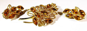 Vintage 1950s Stunning Mid-Century Topaz Leaf Pin and Earrings Set
