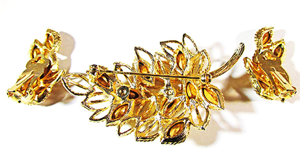 1950s Vintage Jewelry Mid-Century Topaz Diamante Pin and Earrings - Back