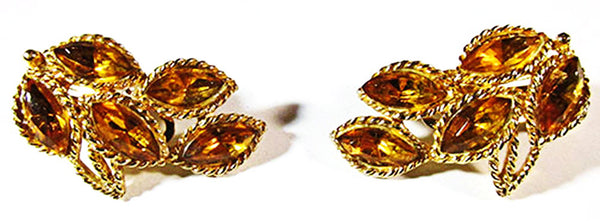 1950s Vintage Jewelry Mid-Century Topaz Diamante Pin and Earrings - Earrings