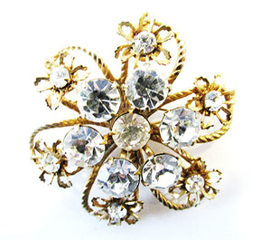 1950s Vintage Costume Jewelry Distinctive Clear Diamante Floral Pin - Front