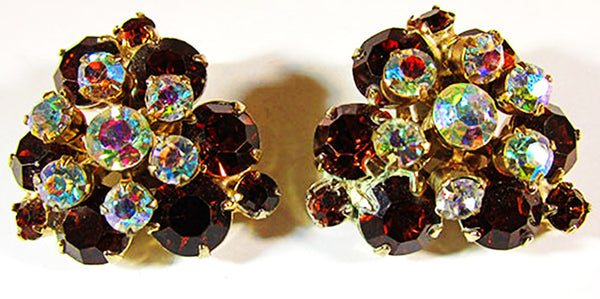 Beaujewels 1950s Vintage Jewelry Mid-Century Diamante Pin and Earrings - Earrings