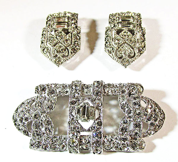 Coro 1930s Vintage Designer Jewelry Stunning Art Deco Diamante Duette - Clip and Pin Front