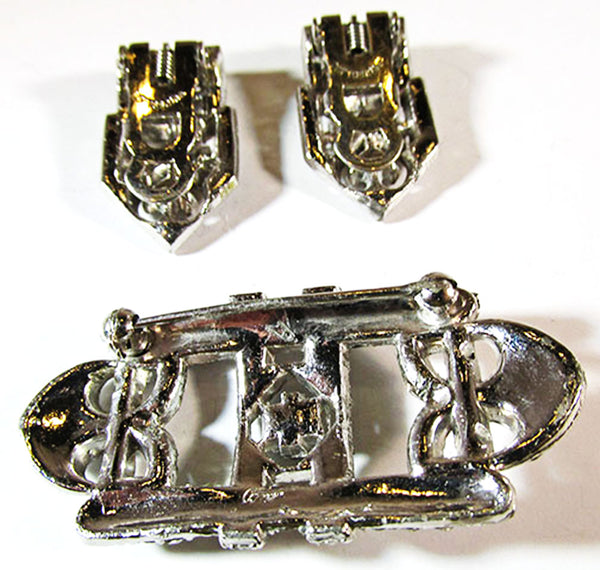 Coro 1930s Vintage Designer Jewelry Stunning Art Deco Diamante Duette - Clip and Pin Back