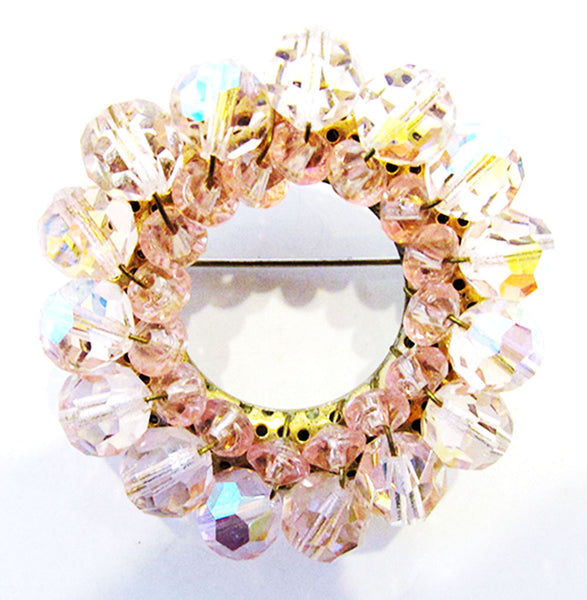 Vintage 1950s Mid-Century Impeccable Pink Crystal Circle Pin