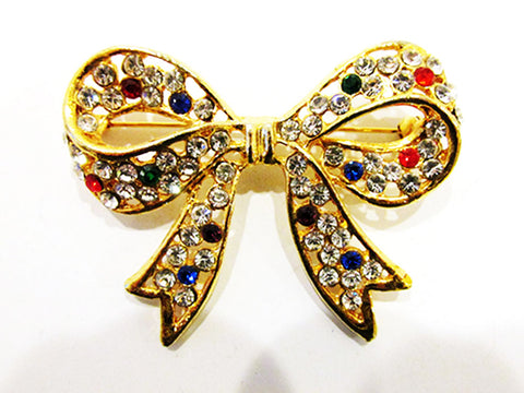 1960s Vintage Jewelry Contemporary Style Multi-Color Diamante Bow Pin - Front