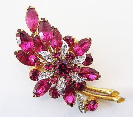Vintage 1950s Mid Century Fuchsia Rhinestone Floral Bouquet Pin
