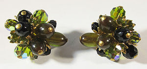 Vintage 1960s Retro Distinctive Green Crystal and Bead Floral Earrings