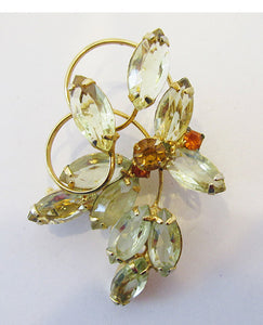 Vintage 1950s Delightful Citrine and Topaz Floral Bouquet Pin