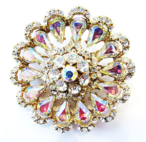 Vintage 1950s Jewelry Stunning Aurora Borealis Diamante Floral Pin - Front