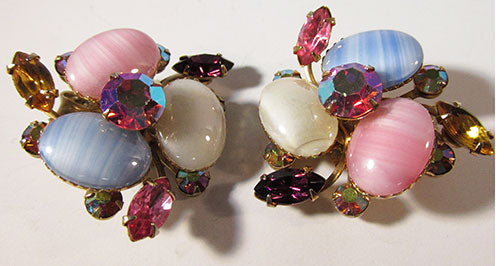 Beaujewels Vintage Bold Mid Century Multi-Colored Earrings