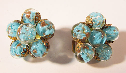 Italy Vintage 1950s Stunning Turquoise and Gold Art Glass Earrings