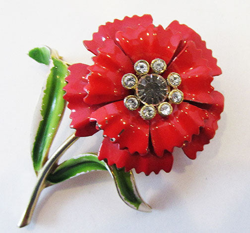 Crown Trifari Vintage Wonderful Retro Enameled Carnation Pin