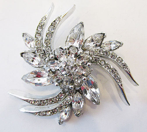Pell Vintage 1950s Exquisite Rhinestone Floral Swirl Pin