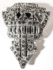 Vintage 1930s Stunning Art Deco Sparkling Clear Diamante Dress Clip - Front
