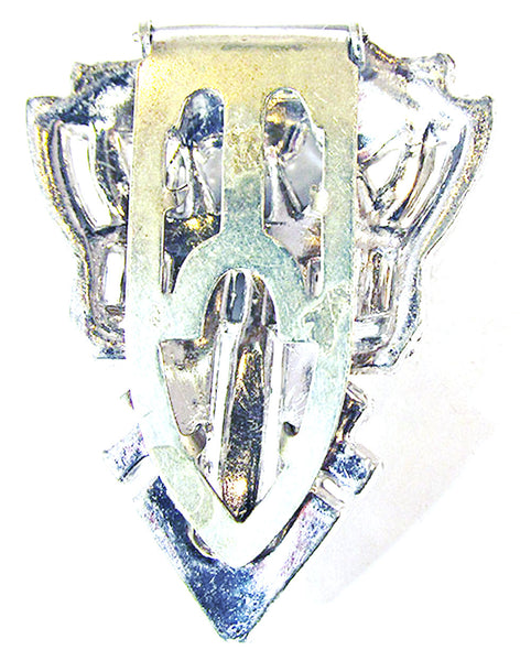 Vintage 1930s Stunning Art Deco Sparkling Clear Diamante Dress Clip - Back