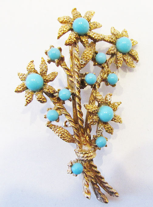 Vintage Mid Century 1950s Lovely Turquoise Floral Bouquet Pin
