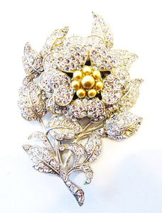 Vintage 1930s Magnificent Rare Three-Dimensional Diamante Floral Pin - Front