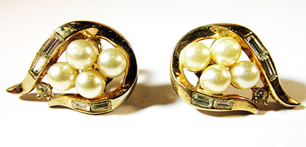 Crown Trifari Vintage Jewelry 1950s Diamante and Pearl Earrings - Front