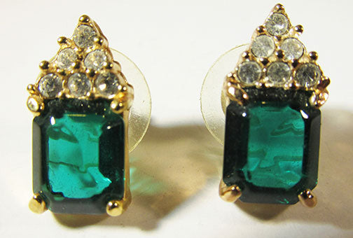 Roman Vintage Glamorous Retro Emerald and Clear Geometric Earrings