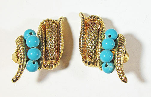 Vintage Eye-Catching Innovative Retro Turquoise and Mesh Button Earrings