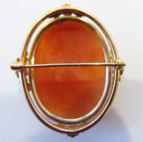 Vintage Elegant Timeless 1920s 10Kt Shell Cameo Pin