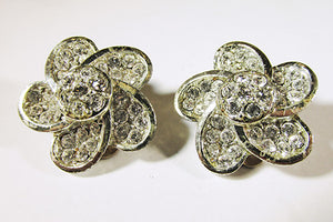 Vintage Kramer 1950s Clear Rhinestone Floral Earrings