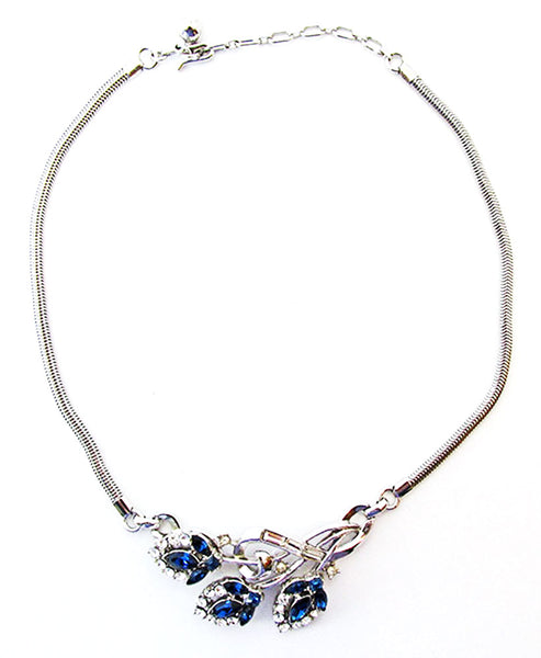 Crown Trifari 1950s Vintage Alfred Philippe Diamante Floral Set - Necklace