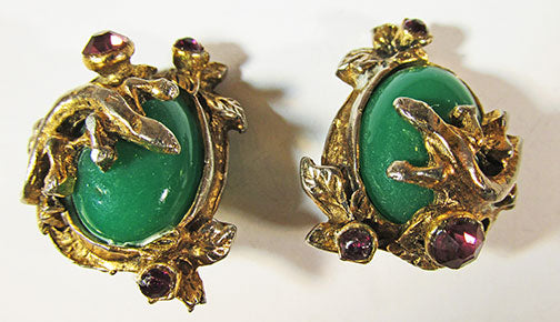 Vintage 1940s Distinctive Art Nouveau Style Jade Earrings
