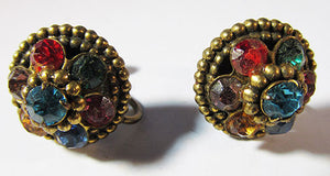 Coro Vintage Minimalist 1950s Multi-Colored Button Earrings
