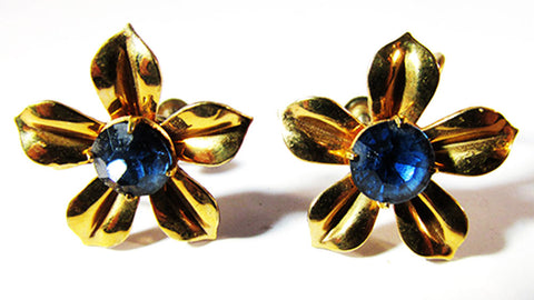 Dainty Vintage 1940s Retro Gold Filled Sapphire Floral Button Earrings