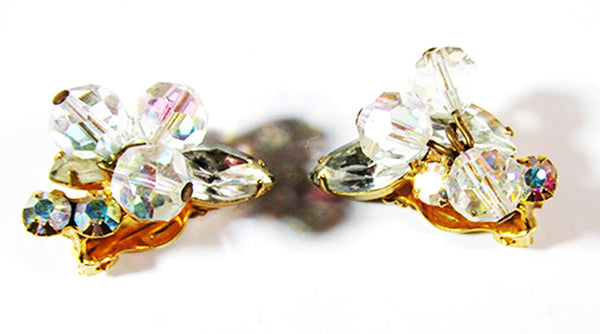 1950s Vintage Jewelry Exceptional Diamante and Crystal Bead Earrings - Front