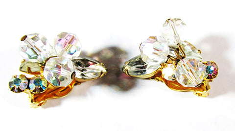 Elegant 1950s Mid-Century Vintage Rhinestone and Crystal Earrings