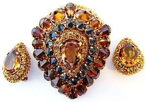 Made in Austria Vintage 1950s Magnificent Statement Pin and Earrings