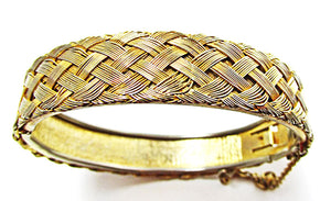 Vintage Jewelry 1960s Distinctive Gold Basket Weave Cuff Bracelet - Front