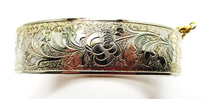 Vintage Mid Century Gorgeous Engraved Floral Bangle Bracelet