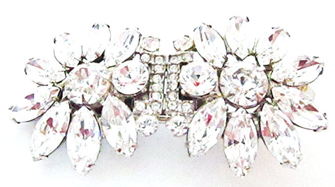 1930s Vintage Costume Jewelry Exquisite Diamante Floral Duette - Front