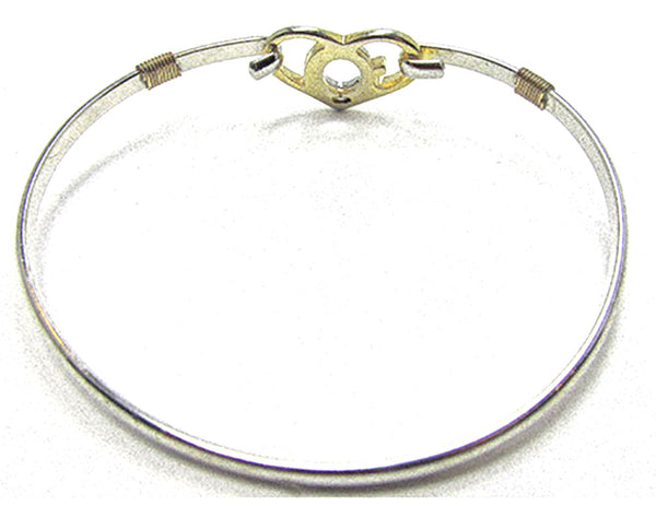 Vintage Jewelry Romantic Retro Contemporary Style Heart Cuff Bracelet - Back