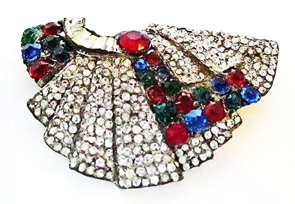 1930s Vintage Costume Jewelry Art Deco Multi-Color Diamante Dress Clip - Front