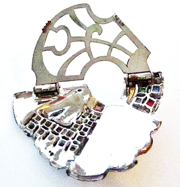 1930s Vintage Costume Jewelry Art Deco Multi-Color Diamante Dress Clip - Back