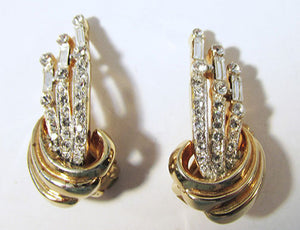 Jeray Vintage Brilliant Retro 1940s Rhinestone Earrings