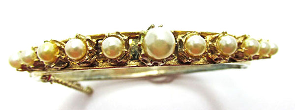 Vintage Jewelry 1950s Mid-Century Flawless Pearl Cuff Bracelet - Front