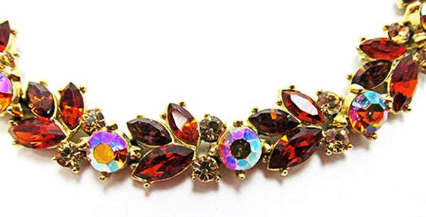 Trifari 1950s Mid-Century Floral Topaz and Citrine Diamante Bracelet - Close Up