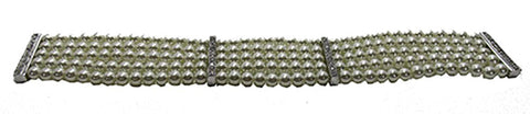 Vintage 1950s Stunning Five Strand Pearl and Rhinestone Bracelet