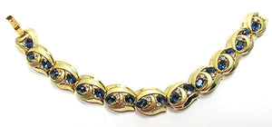 Crown Trifari Vintage Striking Mid Century Sapphire Link Bracelet