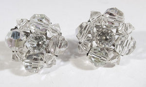 Beautiful Vintage Mid-Century Minimalist Crystal Button Style Earrings